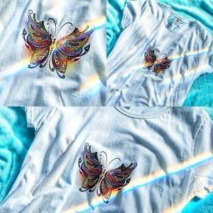 White Cotton T-Shirt Colorful Butterfly